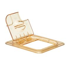 Cambro® 60HPLN150 Amber 1/6 Size Notched H-Pan™ FlipLid®