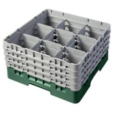 Cambro 9S800119 Camrack Sherwood Green 9 Compartment Full Glass Rack