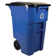 Rubbermaid FG9W2773BLUE BRUTE 50 Gal Rollout Recycle Container w/ Lid