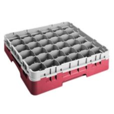 "Cambro 36S418163 Red 36 Comp. 4-1/2"" Camrack with Extenders - 5 / CS"