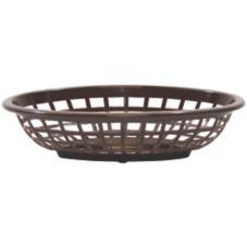 "TableCraft 1071BR 7-3/4"" Brown Oval Side Order Basket - Dozen"