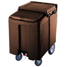 Cambro ICS125T131 Dark Brown Tall Height SlidingLid 125 Lbs. Ice Caddy