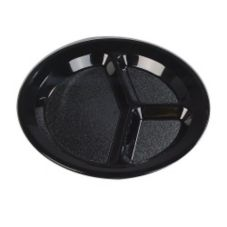 Carlisle® PCD21103 Black Narrow Rim 3-Compartment Plate - Dozen