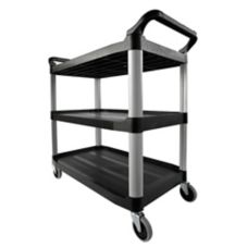 Rubbermaid Xtra™ Black Open Sided 3-Shelf Utility Cart
