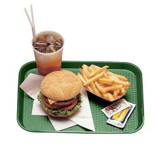 "Cambro 1418FF119 Sherwood Green 14"" x 18"" Fast Food Tray - 12 / CS"