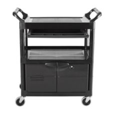 Rubbermaid FG345700BLA Lockable Door Utility Cart with Sliding Drawer