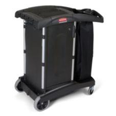 Rubbermaid FG9T7700BLA Black Turndown Housekeeping Cart