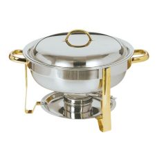 Update International S/S 4 Qt Gold Accented Round Chafer