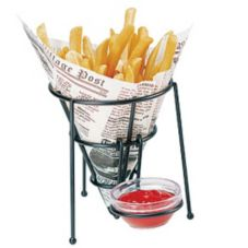 "Clipper Mill 4-33888-L Black 5"" x 6"" Stackable Cone Fry Basket"