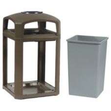 Rubbermaid FG397001SBLE Landmark 35 Gal Dome Top Trash Can w/ Ashtray