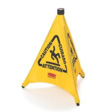 "Rubbermaid Yellow Multilingual 20"" Caution Pop-Up Safety Cone"