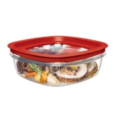 Rubbermaid® FG7H78TRCHILI Premier Clear 9 c. Container w/ Red Lid