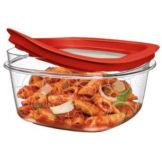 Rubbermaid® FG7H77TRCHILI Premier Clear 5 c. Container w/ Red Lid