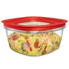 Rubbermaid® FG7H79TRCHILI Premier Clear 14 c. Container w/ Red Lid