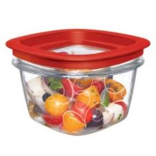 Rubbermaid® FG7H75TRCHILI Premier Clear 2 c. Container w/ Red Lid