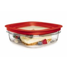 Rubbermaid® FG7H76TRCHILI Premier Clear 3 c. Container w/ Red  Lid