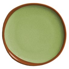 "Syracuse 922224350 Terracotta 6.38"" Fern Green Plate - 12 / CS"