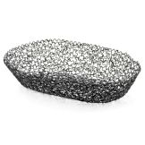 "TableCraft BK37410 Boucle Collection™ 10"" Black Oval Basket"