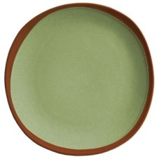 "Syracuse 922224352 Terracotta 10.75"" Fern Green Plate - 12 / CS"