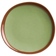 "Syracuse® 922224351 Terracotta 9"" Fern Green Plate - 12 / CS"