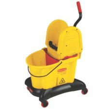 Rubbermaid WaveBrake Yellow 35 Qt Dual Water Down Press Wringer Combo