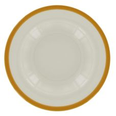 "Homer Laughlin 11½"" Pasta Bowl w/ Solid Mustard Edge Line"