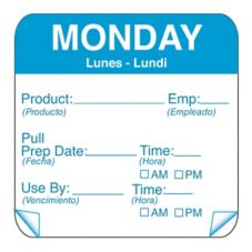 "DayMark 115151-1 ToughMark 2"" Monday Use By Day Square - 500 / RL"
