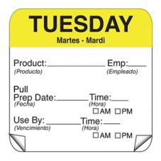 "DayMark 115151-2 ToughMark 2"" Tuesday Use By Day Square - 500 / RL"