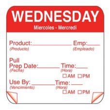 """DayMark 115151-3 ToughMark 2"""" Wednesday Use By Day Square - 500 / RL"""