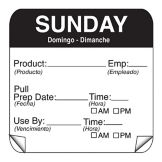 "DayMark 115151-7 ToughMark 2"" Sunday Use By Day Square - 500 / RL"