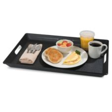 "Carlisle® 21-1/2"" x 15-1/2"" Black Room Service Tray"