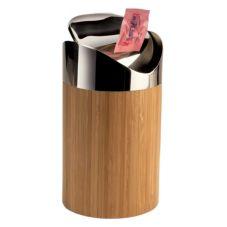 "Cal-Mil 1717-60 Bamboo 5"" x 5"" x 7"" Counter Trash Bin"