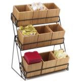 Cal-Mil 1817-13 Iron 3-Tier Bamboo Bin Display with 9 Bins