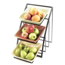 Cal-Mil 1750-13 Black Mission Style Square Bowl Display Rack