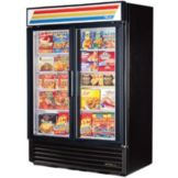 True® Blk 2 Glass Swing Door Freezer Merchandiser w/ True Stripes