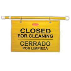 Rubbermaid Yellow Multilingual Closed for Cleaning Hanging Safety Sign