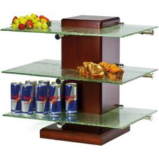 Buffet Euro Pillar Post Stand w/ Green Glass Shelves