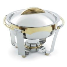 Vollrath 48324 Panacea™ S/S Large 6 Qt Round Chafer W/ Gold Trim