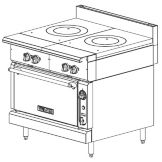 "Vulcan Hart 36"" Gas Range w/ Dual French Tops and Convection Oven"