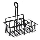 Clipper Mill 4-31698 Black 3-Comp. Wire Table Caddie with Menu Holder