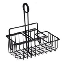 Clipper Mill Black 3-Compartment Wire Table Caddie