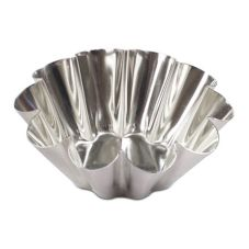 J.B. Prince M118 80 Tinned Steel 2 Oz. Fluted Brioche Mold