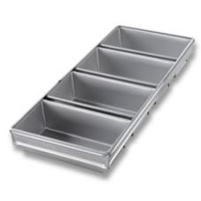 Chicago Metallic 44245 Aluminized Steel 4-Strap Bread Pans With Glaze