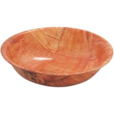 "TableCraft 212 12"" Mahogany Round Woven Wood Bowl - Dozen"