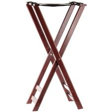 "Tablecraft 22 38"" Tall Mahogany Finish Teak Wood Tray Stand"