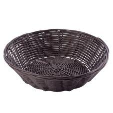 TableCraft 1475 Brown Round Woven Plastic Basket - Dozen