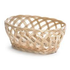 "TableCraft 1136W 9-1/4"" Tan Hand-Woven Plastic Basket - Dozen"