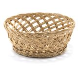 "TableCraft 1635 9"" x 3.5"" Woven Wicker Round Basket"