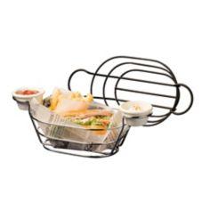 American Metalcraft BSKB96 S/S Oval Wire Basket w/ Ramekin Holders