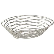 "American Metalcraft 9 x 6"" Oval Chrome Wire Birdnest Basket"
